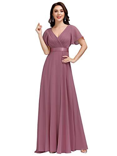 Ever-Pretty Damen Abendkleid Frau A-Linie Festliches Kleid V Ausschnitt Hochzeit lang Orchidee 36