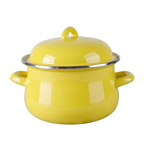 ZTMN Olla de Esmalte Mini Cacerola Cacerola de Caldo Cazuela Leche Fideos de Huevo Bandeja de inducción y Gas, Amarillo