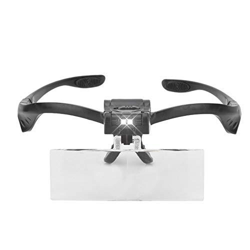Solomi Lupa - Lupa con Diadema Tipo Gafas con lámpara LED de 5 Lentes for el Uso del Tatuaje de extensión de pestañas