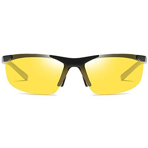 Kaper Go Las Gafas De Sol UV400 Deportivas De Aluminio Y Magnesio for Ciclismo Al Aire Libre Son De Color Negro/Plateado/Marrón, con Las Mismas Gafas De Sol De Conducción. (Color : Black)