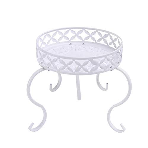 Yardwe Blumenregal Blumenhocker Metall Garten Pflanzenständer Blumenständer Tisch (Weiß)
