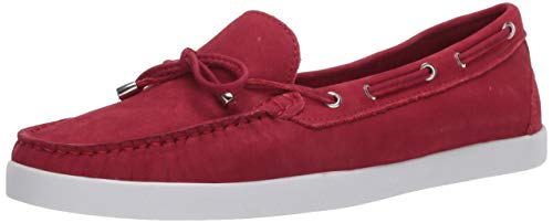 Driver Club USA Women's Leather Made in Brazil Boat Shoe with Tiebow Detail, Red Nubuck, 10.5 M US