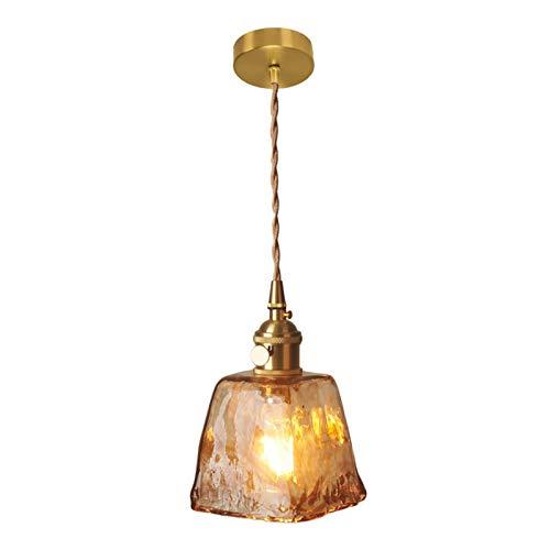 MagiDeal Lámpara Colgante de Techo de Cristal Vintage-Pantalla de Cristal de Cubo de Estilo Industrial iluminación Colgante con Longitud de Cable Ajustable
