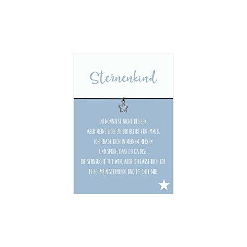 Glücksschmiedin Armband Sternenkind mit Stern Anhänger, elastischen Textilband in schwarz und liebevoller Karte: Du konntest Nicht bleiben.