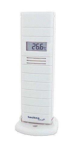 Technoline Außensender TX29 DTH-IT, Temperatur- und Luftfeuchtesender mit Display, 868 MHz (weiß mit Batterien)