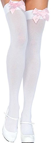 Leg Avenue Damen Halterlose Strümpfe Nylon 70 DEN Weiß mit hell rosafarbenen Schleifen Einheitsgröße 36 bis 40
