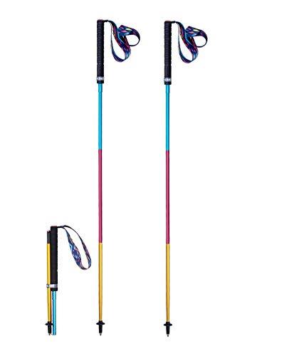Bastón de senderismo ligero plegable Quick Lock 110/120 cm, fibra de carbono para escalada, al aire libre, 2 unidades (120)