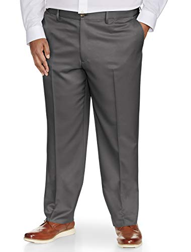 Amazon Essentials Men's Big & Tall Classic-Fit Wrinkle-Resistant Flat-Front Dress Pant, Dark Gray, 44W x 34L