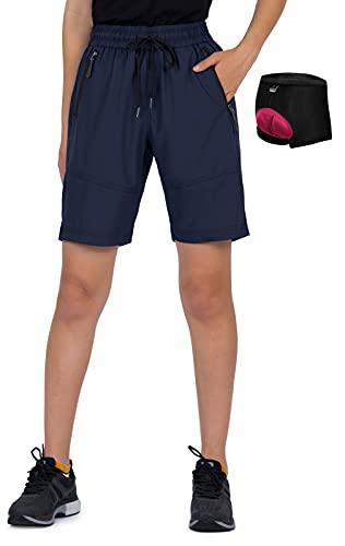 Cycorld MTB Hose Damen Fahrradhose, Atmungsaktiv Mountainbike Hose Damen Radhose Schnelltrocknende MTB Shorts Bike Hose Damen Outdoor Shorts (Navyblau Mit Unterwäsche, M, m)