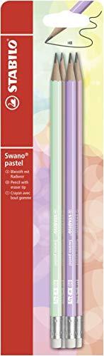 STABILO - Bleistift mit Radiergummi - swano Pastel - 4er Pack - in grün, lila, aprikose, pink -  Härtegrad HB