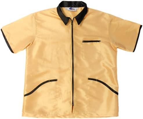 Barber Jacket for Men Vest Uniform (SMALL, GOLD)