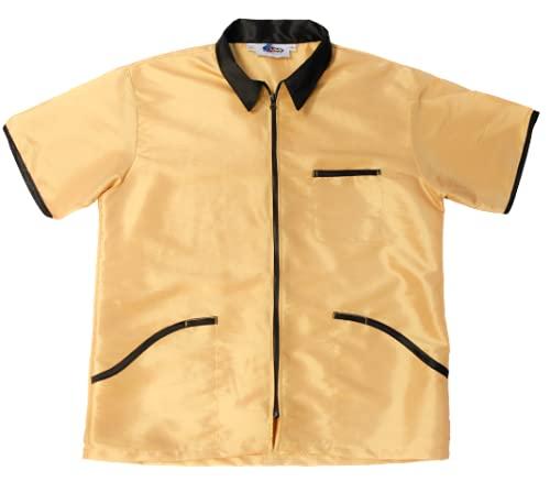 Barber Jacket for Men Vest Uniform (X-LARGE, GOLD)