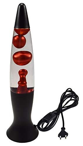 Lavalampe Magmaleuchte Schwarz/Rot Metallic 40cm Hoch 1,5m Kabel mit Schalter 230V I Einschlaf Licht I Dekoration I Schlummerlicht