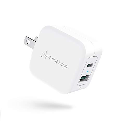 Epeios PD充電器 20W Type-C 急速充電器 2ポート【 USB-C&USB-A/PSE認証済/PD 3.0/QC 3.0 】超小型 充電器 折畳式 携帯便利 iPhone 12 / 12 Pro/iPhone 11 / iPhone X/iPad Air(第4世代) / Xperia/GALAXYその他 各種機器対応 (ホワイト) PA222A