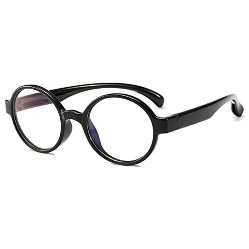 Vesmondo Computerbril kinderen blauw lichtfilter zonder sterkte rond siliconen brilmontuur kinderbril meisjes jongens tieners met brillenkoker