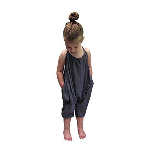 AMUSTER.DAN Baby Mädchen Sommer Overall Spielanzug Harem Hosen Outfits Kleidung (120, Grau)