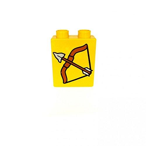 1 x Lego Duplo Motivstein gelb 1x2x2 bedruckt Pfeil und Bogen Indianer Bild Bau Stein 4066 pb093
