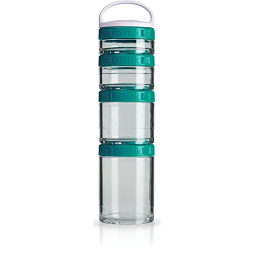 BlenderBottle C02502 GoStak Twist n' Lock Storage Jars, 4-Piece Starter Pak, Teal