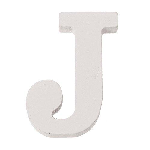 Glorex Letra J MDF 5,5 x 0,9 cm, 1 Unidad, Madera, Color Blanco, 5,5 x 3 x 1 cm