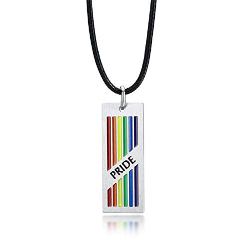 Personalised Gay Pride Necklace for Unisex,Stainless Steel Name Date Love Customised Bar Pendant Gay Lesbian LGBT Pride Necklaces for Wedding Engagement Promise Xmas Gift