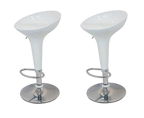 La Silla Española - Pack de Dos Taburetes Estilo Rex en PVC Color Blanco, Regulable en Altura 44x40x87 cm, 2 Unidades