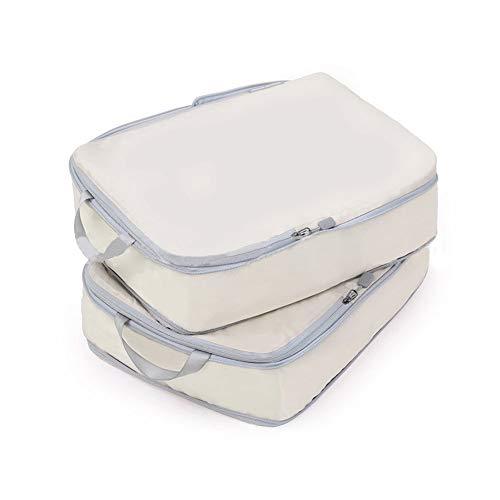 Bostar 2点セット 圧縮バッグ 旅行用収納バッグ 衣類圧縮バッグ 可変スペース ダブルファスナー圧縮 超軽量 大容量 撥水加工 トラベルポーチ 旅行 出張 スーツケース整理 ホワイト