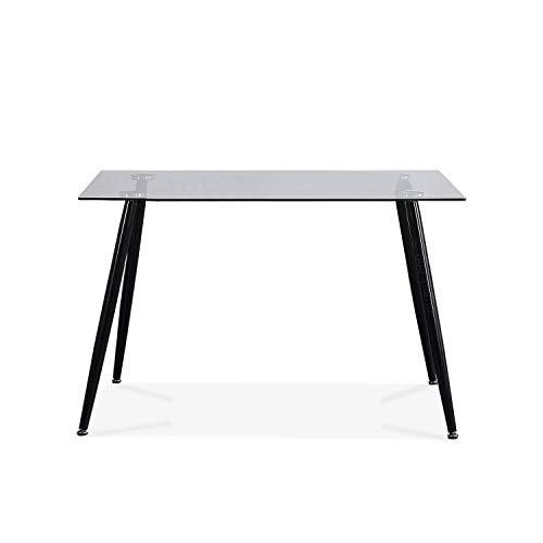 Adec - Suecia, Mesa de Comedor, Mesa Salon Fija Color Cristal y Negro, Medidas: 120 cm (Largo) x 80 cm (Ancho) x 75 cm (Alto).