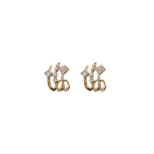 Pendientes de plata de ley S925 con microincrustaciones geométricas de circón en forma de C, simples y versátiles pendientes de plata de ley para las mujeres de moda regalos de joyería