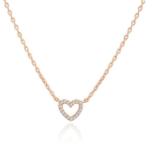PAVOI 14K Gold Plated Cubic Zirconia Heart Necklace | Layered Necklaces | Rose Gold Necklaces for Women