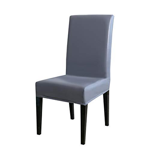 Impermeable, a prueba de aceite, elástico antideslizante, ceniza plateada universal,Cubierta para silla, paquete de para silla de comedor elástica Silla con respaldo alto Funda protectora Funda prote