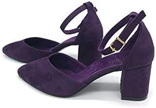 Binbon Kadın Süet Kalın Kısa Topuklu Ayakkabı