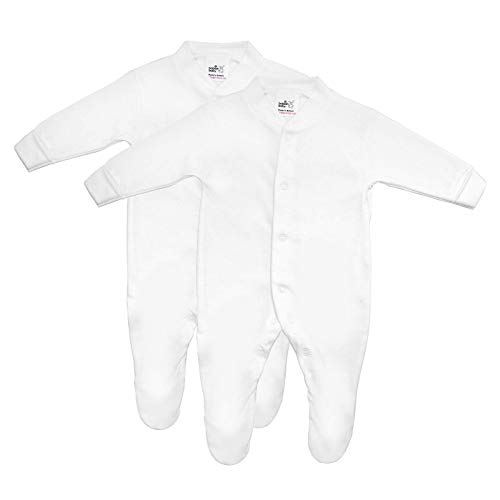 Premature Tiny Baby Sleepsuits, 3 Pack For Boys and Girls, Made in Britain, Pure Cotton, White, 5-8lbs