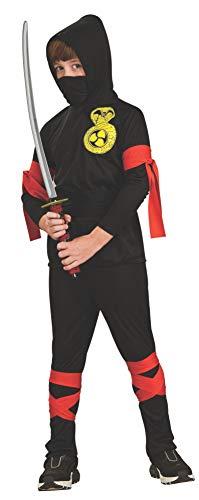 Bambino ninja costume. Media 5-7 anni. Maglia con cappuccio, maschera facciale, pantaloni e cravatte rosse.