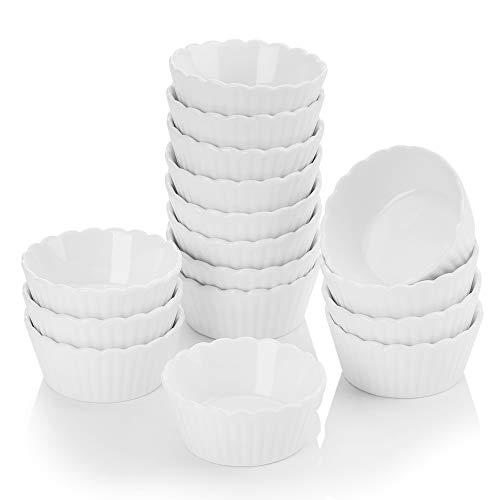 MALACASA, Serie Ramekin.Dish, 16 Pezzi di Ciotoline Rotonde per aperitivo/per antipasto/per i Dolci/per merenda/per Salse, in Ceramica/Porcellana Bianca, Dimensione: 7 * 7 * 3cm