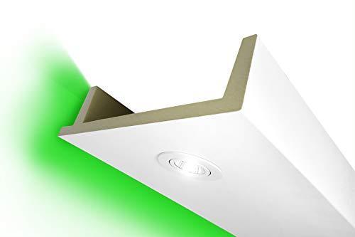 2 Meter | LED Kastenprofil | indirekte Beleuchtung | Stuck | lichtundurchlässig | stoßfest | Leiste | wetterbeständig | 80x300mm | LED-12