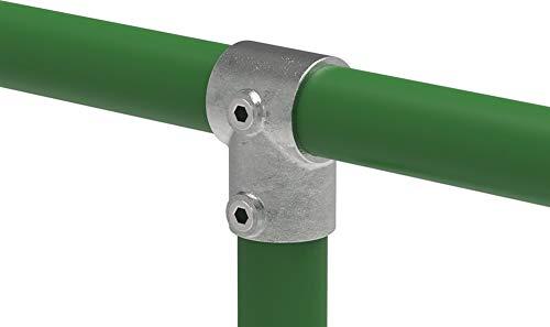 Fenau | T-Verbinder/T-Stück, Rohrverbinder, kurz, 90-Grad, Ø 33,7 mm, Temperguss galvanisiert, feuerverzinkt, inkl. Schrauben