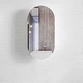 Oval Pill Matte White Wall Hung Bathroom Mirror Cabinet, Shaving Cabinet, Makeup Mirror, Vanity Mirror, Storage Wall Mirro...