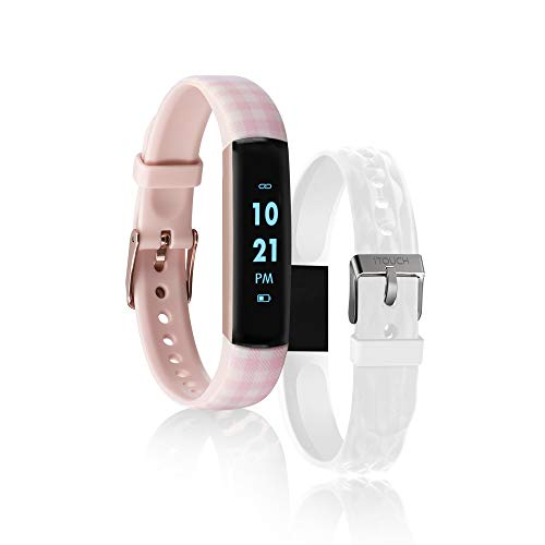 iTouch Slim Fitness Tracker with Heart Rate Monitor, Step Tracker, Calorie Tracker & Sleep Tracker. Waterproof Fitness Watch for Women & Men, Android & iOS, Blush Printed/White Interchangeable Straps