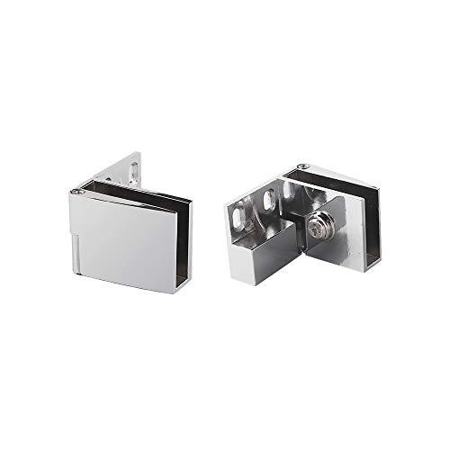 2 Piezas Bisagra de Clip de Puerta de Vidrio, Bisagras de puerta de metal, Soporte para vidrio de pared 3mm-5 mm de espesor, Bisagras para Abrazaderas de Puertas de Vidrio de Vitrinas, cristal Bisagra