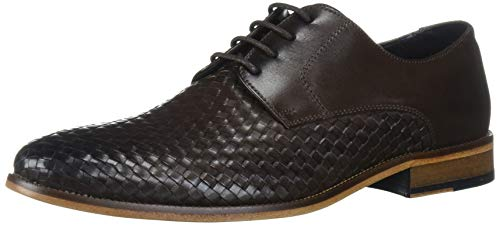 Marc Joseph New York Men's Genuine Leather Gold Collection Dress Woven Oxford, Brown Toscana Weave nappa, 9.5 M US