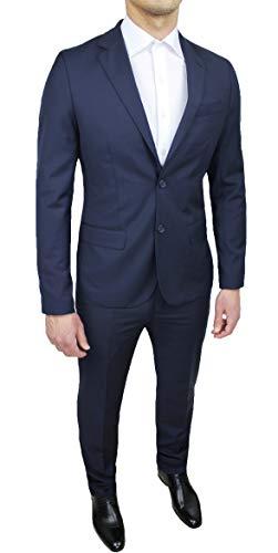 Abito Completo Uomo Sartoriale Blu Scuro Slim Fit Nuovo Elegante Cerimonia Taglie da 44 a 60 (54, Blu Scuro)