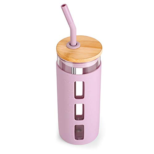tronco 20oz Glass Tumbler Glass Water Bottle Straw Silicone Sleeve Bamboo Lid- BPA Free (Pink)