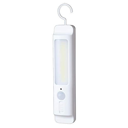 コモライフ 吊るすLEDセンサーライト 連続点灯約8時間 コンセント不要 フック マグネット付き クローゼット 玄関 屋内 階段 アウトドア キャンプ 防犯 防災 明るい ホワイト