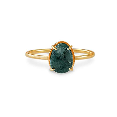 JXYJHBL Retro simple natural alga verde transparente ágata agua hierba piedra gota plata anillo unisex anillo