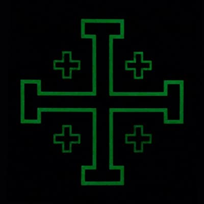 2AFTER1 Glow Dark Order Holy Sepulchre Jerusalem Cross Templar Crusaders Tactical Morale PVC Touch Fastener Patch