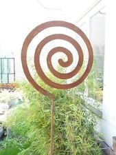 Gartenstecker Beetstecker Glaskugel Edelrost 120cm Gartendeko Metall Eisen Rost