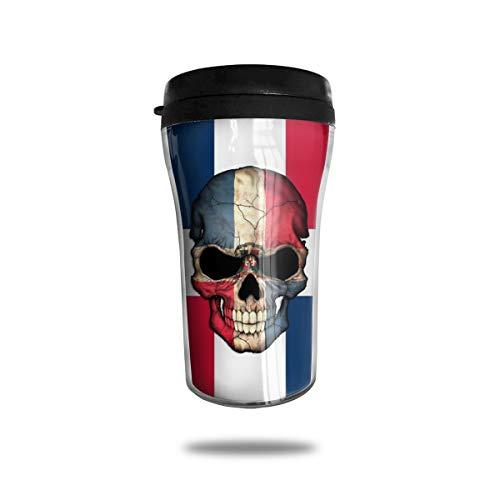 OUYouDeFangA - Taza de café de viaje con diseño de bandera de República Dominicana 3D, taza de té aislada, botella de agua para beber con tapa 8 onzas (250 ml)