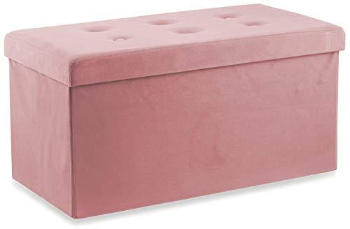 soriani Baule Cassapanca Pouf Contenitore in Velluto Rosa Antico
