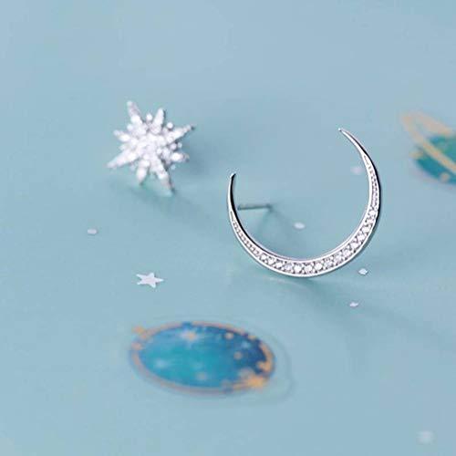 WOZUIMEI Pendientes de Menisco Hansen de Plata S925 Pendientes Cortos Asimétricos con Personalidad de Estrella de Diamantes CompletosUn par