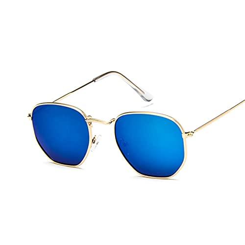 QSLS 1 pc Gafas de Sol poligonales Mujeres Gafas Lady Luxury Retro Metal Gafas de Sol Mujer Vintage Espejo UV400 (Lenses Color : Gold Blue)